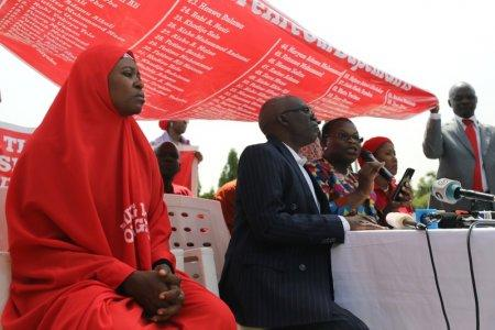 Bring Back Our Girls (BBOG) campaigners speak during a news conference on the abducted Dapchi and Chibok girls in Abuja, Nigeria March 13, 2018. REUTERS/Afolabi Sotunde
