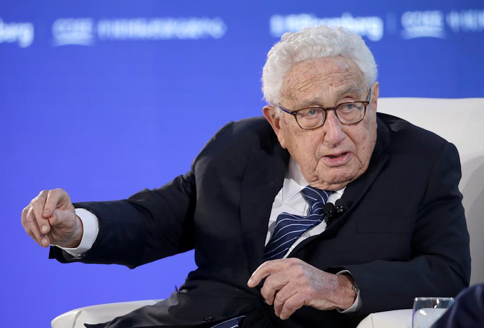 Former U.S. Secretary of State Henry Kissinger attends a conversation at the 2019 New Economy Forum in Beijing, China November 21, 2019. REUTERS/Jason Lee