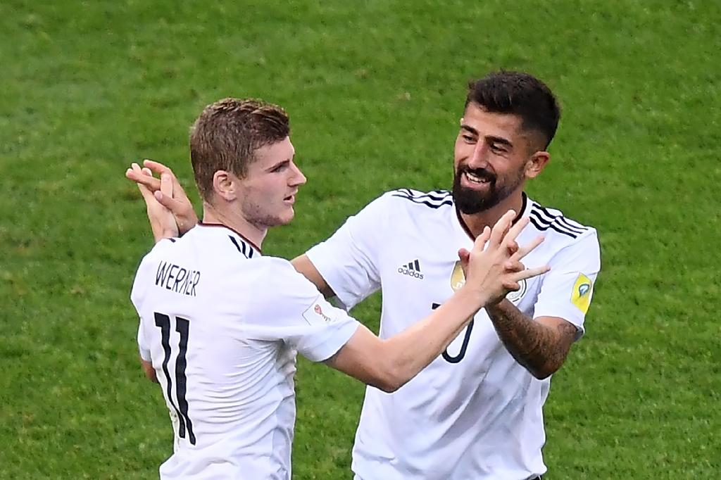 Germany forward Timo Werner (left) celebrates with team-mate Kerem Demirbay after scoring in the Confederations Cup clash with Cameroon in Sochi on June 25, 2017 (AFP Photo/FRANCK FIFE)