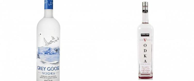 Grey Goose Vodka and Kirkland Signature Vodka