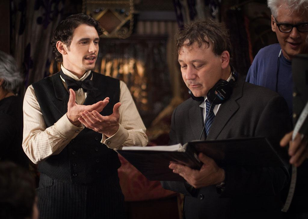 "James Franco with director Sam Raimion on the set of Walt Disney Pictures' ""Oz The Great and Powerful"" - 2013"