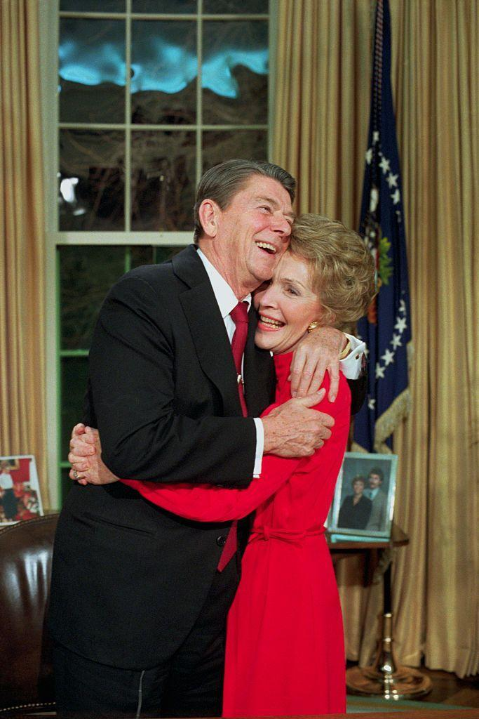 <p>After announcing that he would seek re-election, Ronald Reagan hugged Nancy in the Oval Office. </p>