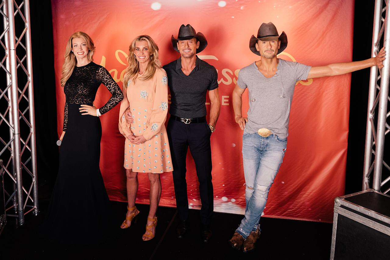 <p>Before the couple's August 2017 concert in Nashville, the singers stopped by Music City's new Madame Tussauds to check out their likenesses. Hill's figure wears the same dress she wore at the 2014 Nashville Symphony Ball, while McGraw's life-like figure is outfitted with his trademark white-washed jeans, a gray tee and a Shantung Panama straw cowboy hat — right from his personal collection. </p>