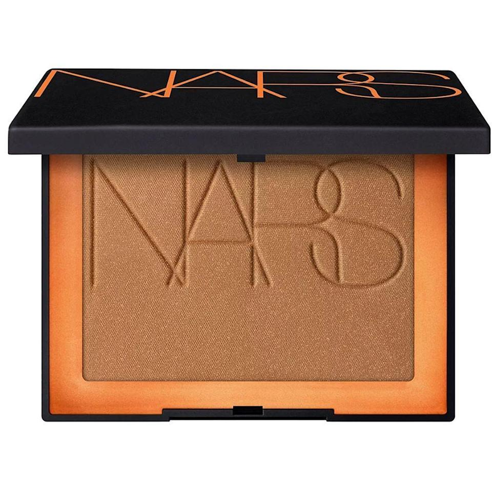 "<p><strong>NARS</strong></p><p>ulta.com</p><p><strong>$38.00</strong></p><p><a href=""https://go.redirectingat.com?id=74968X1596630&url=https%3A%2F%2Fwww.ulta.com%2Fbronzing-powder%3FproductId%3Dpimprod2015288&sref=https%3A%2F%2Fwww.bestproducts.com%2Fbeauty%2Fg33807456%2Fbronzers-for-dark-skin%2F"" rel=""nofollow noopener"" target=""_blank"" data-ylk=""slk:Shop Now"" class=""link rapid-noclick-resp"">Shop Now</a></p><p>Want to add a sparkle to your day? Then grab this bronzer, stat. It's a deep hue that works perfectly on darker skin tones, plus it has a layer of golden shimmer to create a post-beach goddess glow in just a few swipes.</p>"
