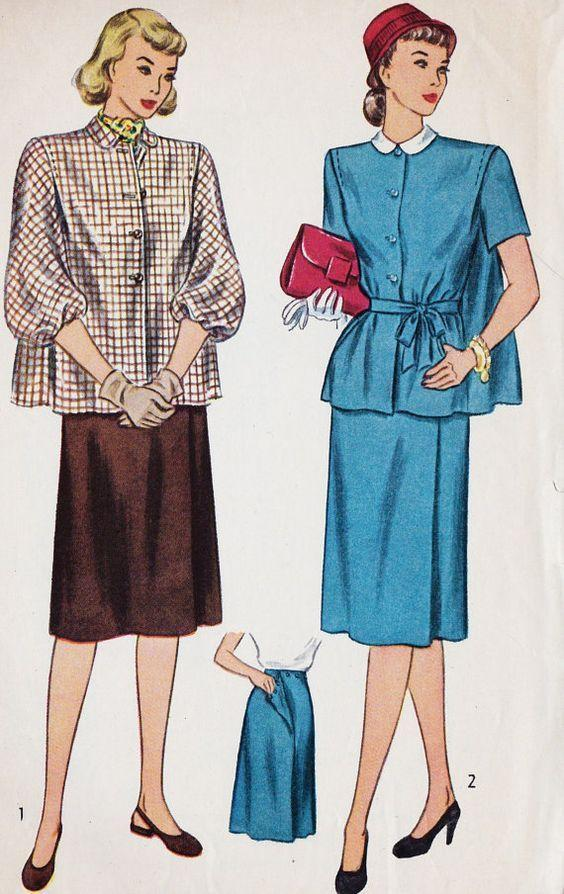 <p>For the most part, the 1940s saw similar maternity fashions to the '30s.</p>