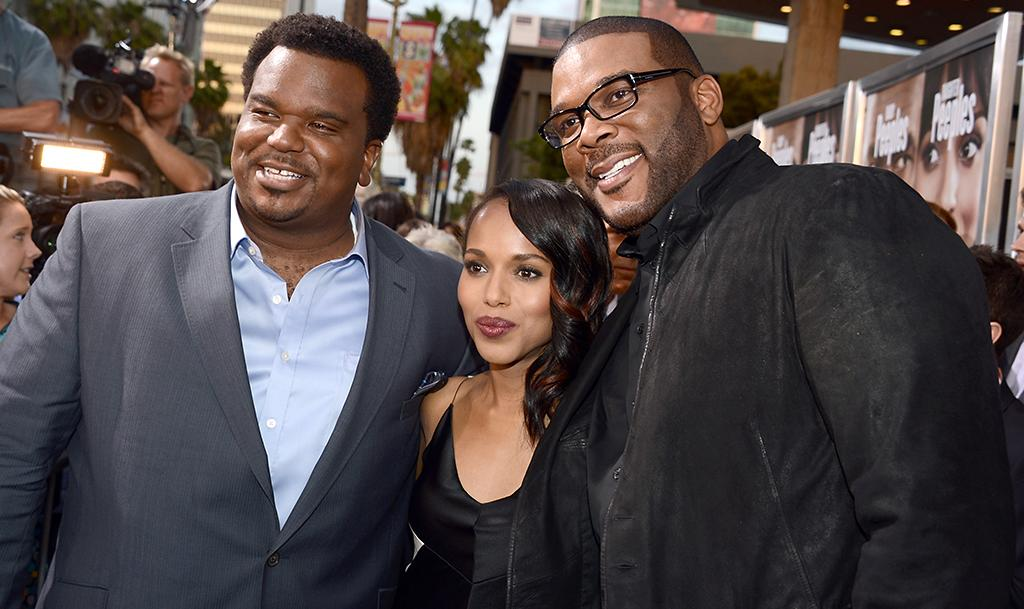"HOLLYWOOD, CA - MAY 08:  (L-R) Actors Craig Robinson, Kerry Washington, and Producer Tyler Perry arrive at the premiere of ""Peeples"" presented by Lionsgate Film and Tyler Perry at ArcLight Hollywood on May 8, 2013 in Hollywood, California.  (Photo by Kevin Winter/Getty Images)"