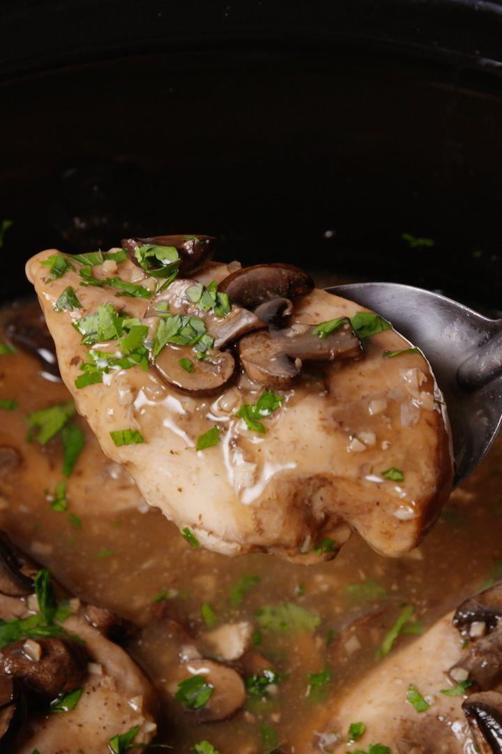 """<p>The most flavourful Chicken Marsala you'll ever have. </p><p>Get the <a href=""""https://www.delish.com/uk/cooking/recipes/a29806693/crock-pot-chicken-marsala-recipe/"""" rel=""""nofollow noopener"""" target=""""_blank"""" data-ylk=""""slk:Slow Cooker Chicken Marsala"""" class=""""link rapid-noclick-resp"""">Slow Cooker Chicken Marsala</a> recipe.</p>"""