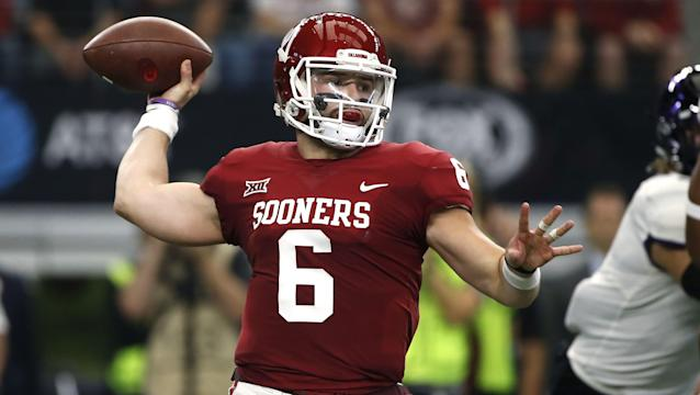 Baker Mayfield could carry Oklahoma to a title this postseason and improve his NFL draft stock over the next two weeks. (AP)