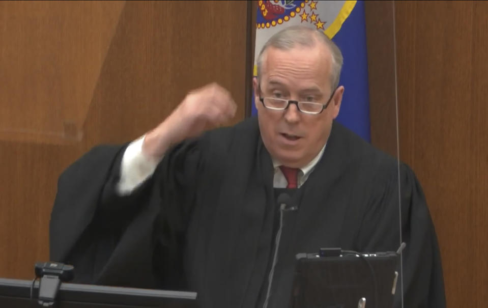 In this image from video, Hennepin County Judge Peter Cahill discusses motions before the court Thursday, April 15, 2021, in the trial of former Minneapolis police officer Derek Chauvin, at the Hennepin County Courthouse in Minneapolis. Chauvin is charged in the May 25, 2020, death of George Floyd. (Court TV via AP, Pool)