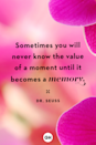 <p>Sometimes you will never know the value of a moment until it becomes a memory.</p>