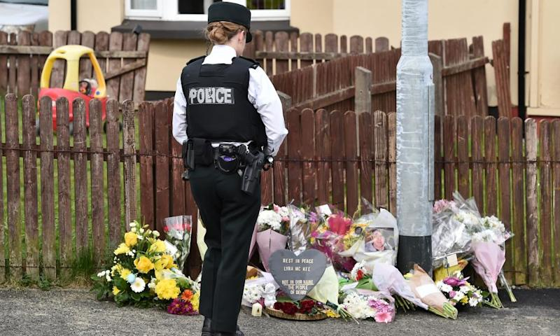 Tributes to McKee near the scene of her shooting.
