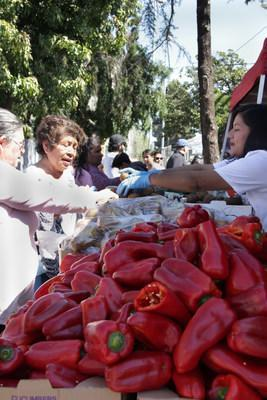 Participants in Pico-Union receiving free produce items at National Health Foundation's Resource Fair in April of 2019 (pre-COVID).