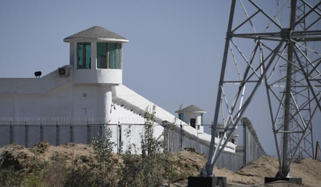 Watchtowers on a high-security facility near what is believed to be a re-education camp in Xinjiang. Photo: AFP