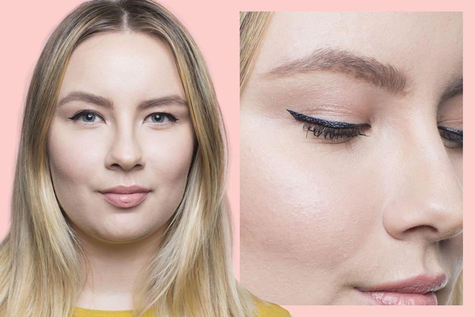 """<p>If the crease of your eyelid isn't visible when your eyes are open, you likely have <strong>hooded eyes.</strong></p><p>Many folks with hooded eyes get anxious about <a href=""""https://www.goodhousekeeping.com/beauty/makeup/g3006/eye-makeup-tips/"""" rel=""""nofollow noopener"""" target=""""_blank"""" data-ylk=""""slk:eye makeup"""" class=""""link rapid-noclick-resp"""">eye makeup</a>, especially since most makeup tutorials only feature eyes where the crease is exposed. Don't fret: it's super easy to apply flawless winged eyeliner to hooded eyes.</p><p>To make sure the liner isn't concealed by your lid, create the outer wing tip where the lid's hood starts. Work your way inward, applying your liner in thin strokes and widening as desired.</p>"""