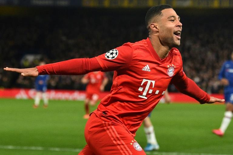 Bayern Munich's Serge Gnabry celebrates after scoring their second goal against Chelsea