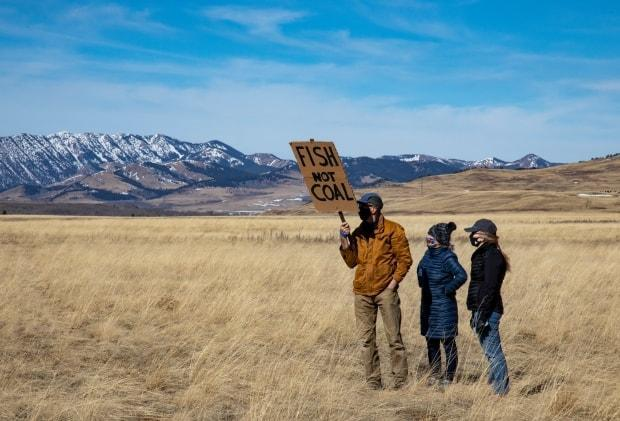 A small group of protesters who oppose proposed coal mining in the Eastern Slopes of the Rocky Mountains gathered at the Monolith sculpture in Maycroft, Alta., on March 14, 2021. (Lorraine Hjalte - image credit)