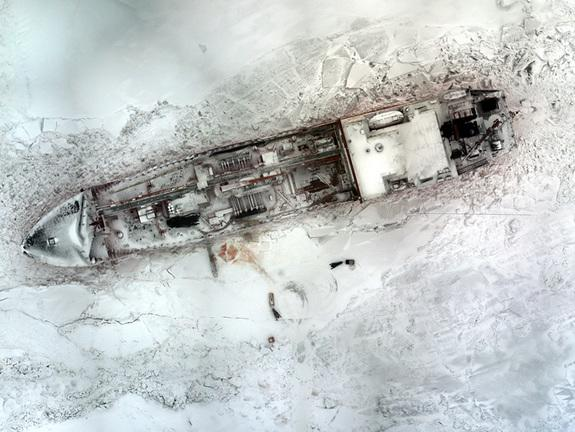 The Aeryon Scout, an unmanned aerial vehicle or drone, assisted the U.S. Coast Guard escort Russian tanker Renda into Nome, Alaska. Here a photo of the tanker taken from the drone.