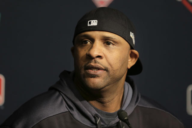 New York Yankees pitcher CC Sabathia talks to reporters at Yankee Stadium, Thursday, Oct. 3, 2019, in New York. The Yankees will host the Minnesota Twins in the first game of an American League Division Series on Friday. (AP Photo/Seth Wenig)