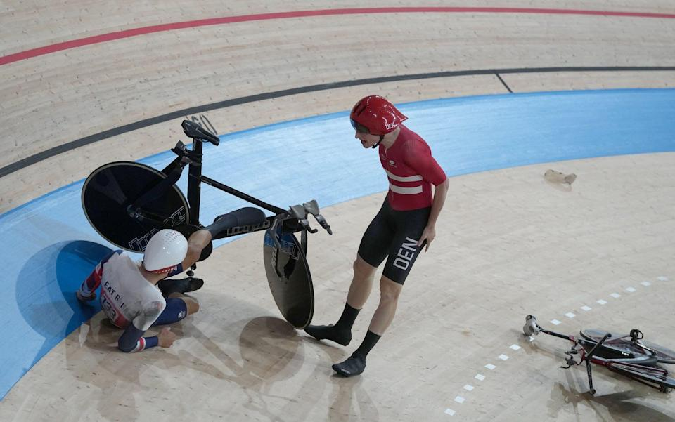 Frederik Madsen (R) of Denmark reacts after crashed with Charlie Tanfield(L) of Great Britain during the Men's Team Pursuit first round during the Track Cycling events of the Tokyo 2020 Olympic Games at the Izu Velodrome in Ono, Shizuoka, Japan, 03 August 2021. - CHRISTOPHER JUE/EPA-EFE/Shutterstock