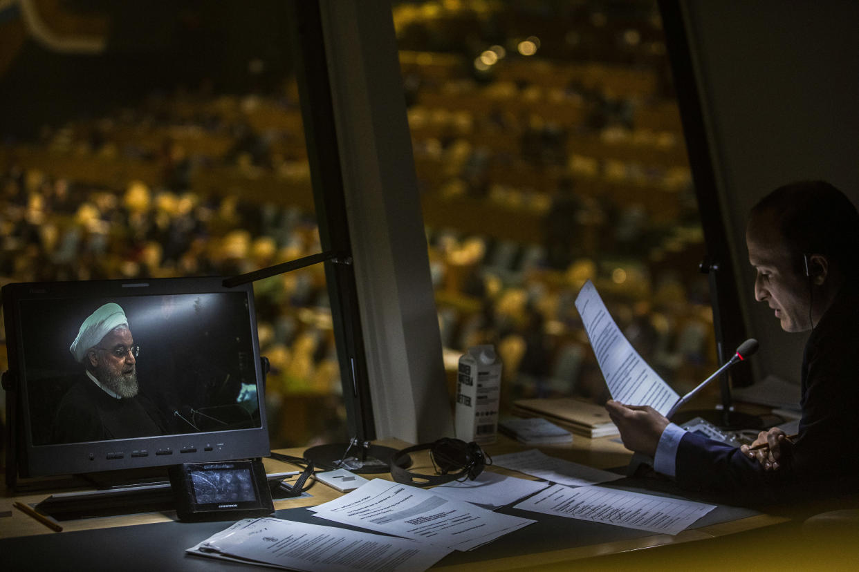 President Hassan Rouhani of Iran, seen on a video monitor, addresses the United Nations General Assembly, on Wednesday, Sept. 25, 2019, at the U.N. headquarters in New York. (Brittainy Newman/The New York Times)