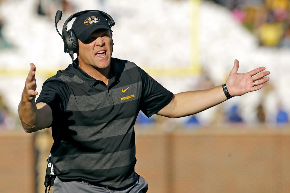 Barry Odom is entering his third season as Missouri's head coach but has a bowl ban hovering above his program. (AP Photo/Charlie Riedel)