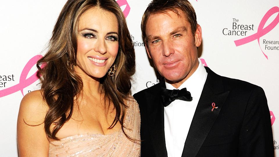 Liz Hurley and Shane Warne, pictured here at the Breast Cancer Foundation's Hot Pink Party in 2012.
