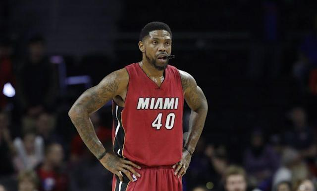 "<a class=""link rapid-noclick-resp"" href=""/nba/players/3765/"" data-ylk=""slk:Udonis Haslem"">Udonis Haslem</a> has played 14 seasons with the Heat. (AP)"