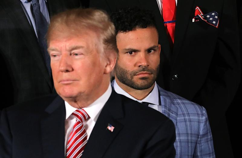 Houston Astros second baseman José Altuve watches President Donald Trump during a celebration of his team's World Series victory in the East Room of the White House on Monday.