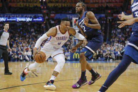 Jan 8, 2019; Oklahoma City, OK, USA; Oklahoma City Thunder guard Russell Westbrook (0) drives to the basket around Minnesota Timberwolves forward Andrew Wiggins (22) during the second half at Chesapeake Energy Arena. Minnesota won 119-117. Mandatory Credit: Alonzo Adams-USA TODAY Sports
