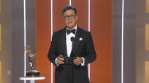 In this video grab issued Sunday, Sept. 19, 2021, by the Television Academy, Stephen Colbert presents the award for outstanding supporting actress in a drama series during the Primetime Emmy Awards. (Television Academy via AP)