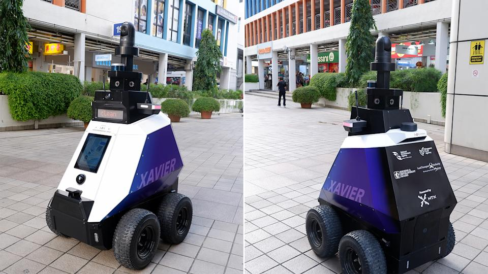 The Xavier ground robot on patrol at Toa Payoh Central. (PHOTOS: HTX)