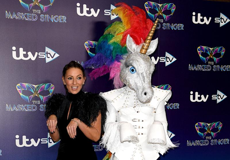 Davina McCall attending The Masked Singer press launch held at The Mayfair Hotel, London.