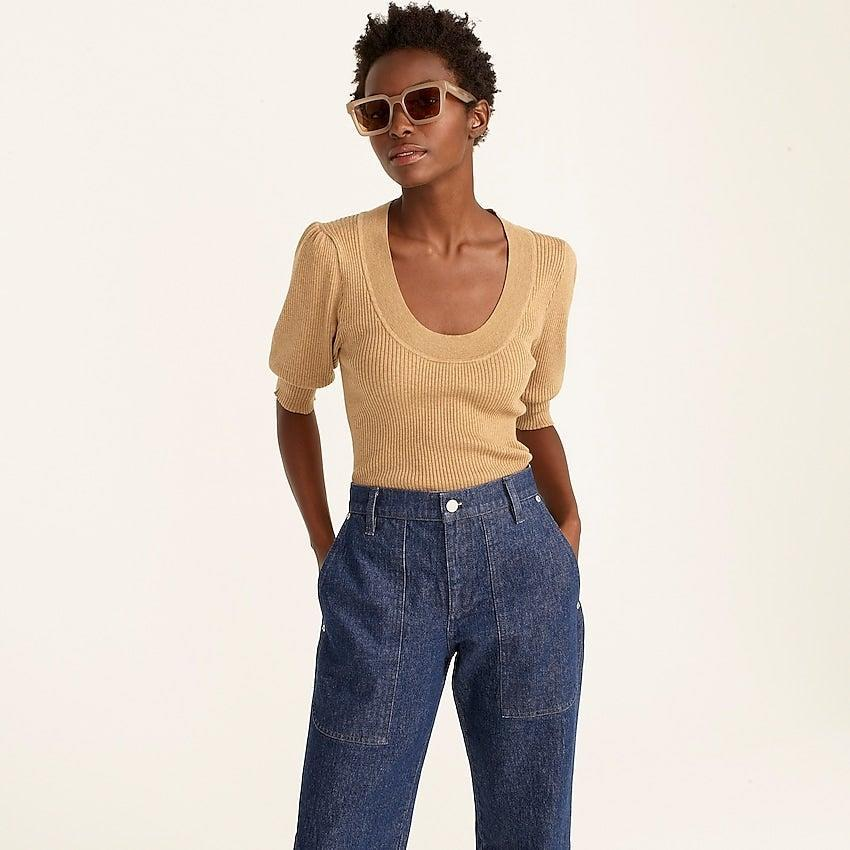 """<br><br><strong>J. Crew</strong> Puff-sleeve silk-blend sweater, $, available at <a href=""""https://go.skimresources.com/?id=30283X879131&url=https%3A%2F%2Fwww.jcrew.com%2Fp%2Fwomens%2Fcategories%2Fclothing%2Fsweaters%2Fpullovers%2Fpuff-sleeve-silk-blend-sweater%2FBA340%3Fdisplay%3Dstandard%26fit%3DClassic%26color_name%3Dhthr-camel%26colorProductCode%3DBA340"""" rel=""""nofollow noopener"""" target=""""_blank"""" data-ylk=""""slk:J. Crew"""" class=""""link rapid-noclick-resp"""">J. Crew</a>"""