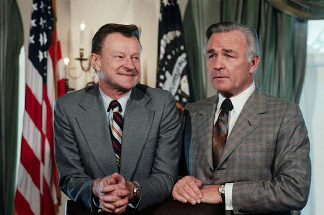 <p>National Security Adviser Zbigniew Brzezinski and Central Intelligence Agency Director Stansfield Turner await the start of a meeting in the Cabinet Room at the White House on Jan. 24, 1978. (Photo: Wally McNamee/Corbis via Getty Images) </p>