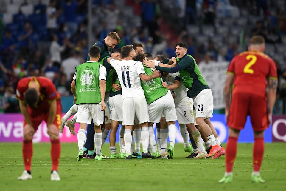 MUNICH, GERMANY - JULY 02: Players of Italy celebrate their side's victory after the UEFA Euro 2020 Championship Quarter-final match between Belgium and Italy at Football Arena Munich on July 02, 2021 in Munich, Germany. (Photo by Andreas Geber - Pool/Getty Images)
