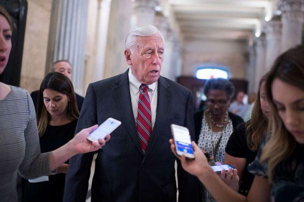 PHOTO: House Majority Leader Steny Hoyer, D-Md., talk with reporters after a news conference in the Capitol to call on the Senate to act on the Bipartisan Background Checks Act of 2019, which requires background checks all gun sales on. (Tom Williams/CQ-Roll Call, Inc via Getty Images)