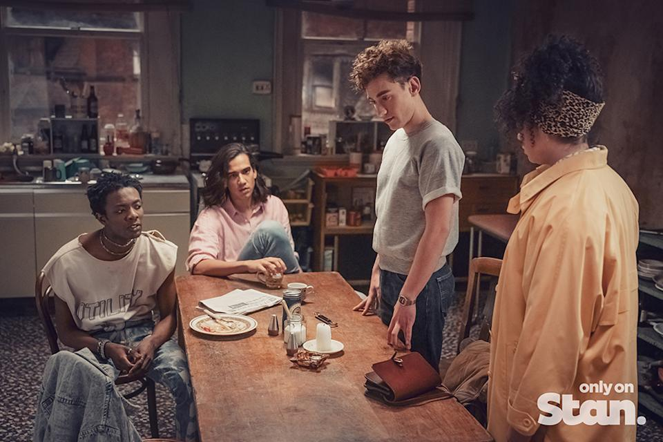 Roscoe Babatunde (Omari Douglas), Ash Mukherjee (Nathaniel Curtis), Ritchie Tozer (Olly Alexander) and Jill Baxter (Lydia West) are the beating heart of It's a Sin. Photo: Stan
