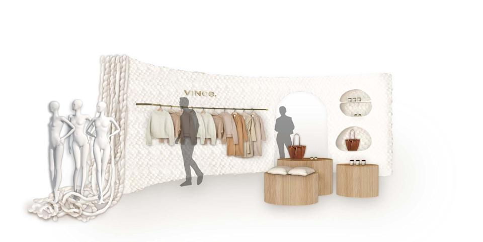 A rendering of the Crafted by Vince pop-up at Nordstrom.