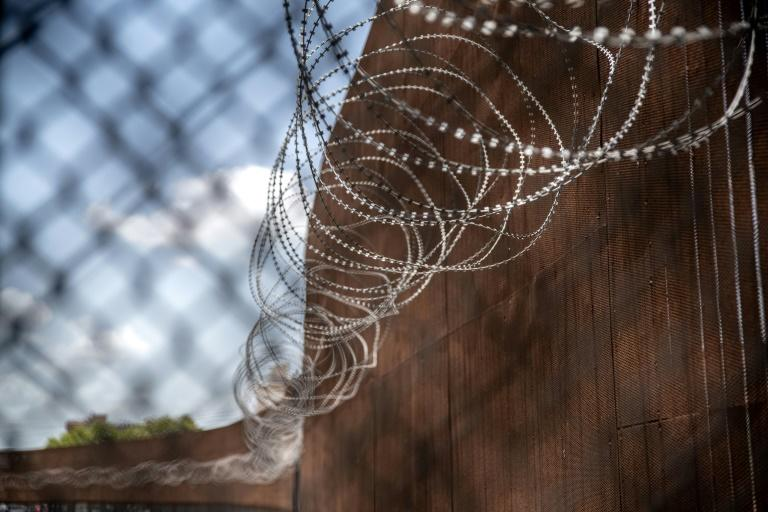Razor wire lines at the Mexican border in Matamoros, Tamaulipas on June 29, 2019; US migrant detentions have fallen sharply since a June deal with Mexico