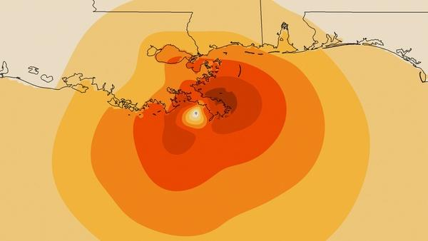 Wind speeds when Hurricane Isaac made landfall, Aug. 29. The darkest shade indicates winds of 70 mph. Each shade lighter indicates surface wind speeds 10 mph less. The beige color on the exterior indicates wind speeds of 20 mph.