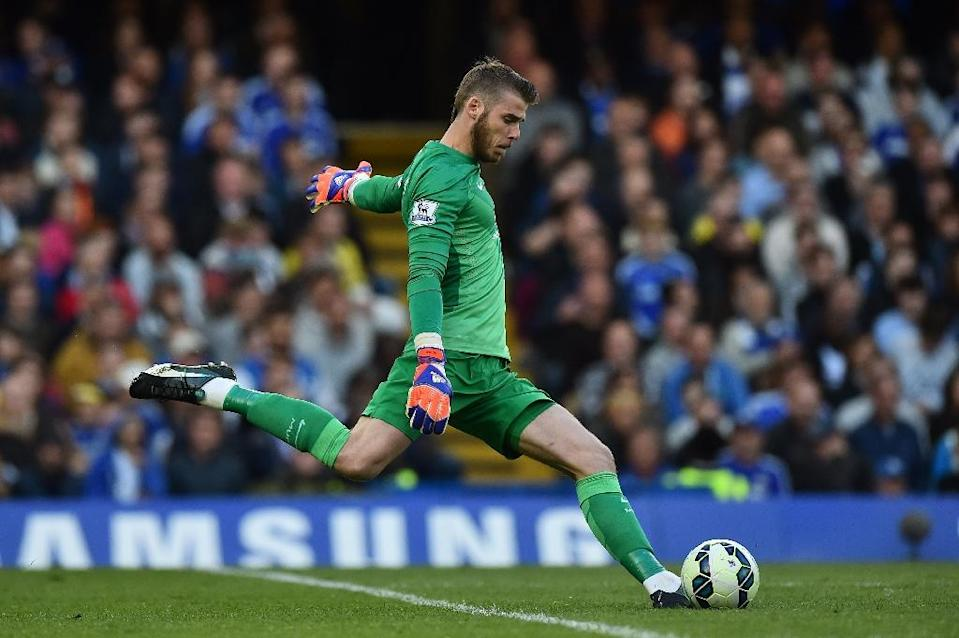 Manchester United's goalkeeper David de Gea clears the ball during an English Premier League match against Chelsea, at Stamford Bridge in London, in April 2015 (AFP Photo/Ben Stansall)
