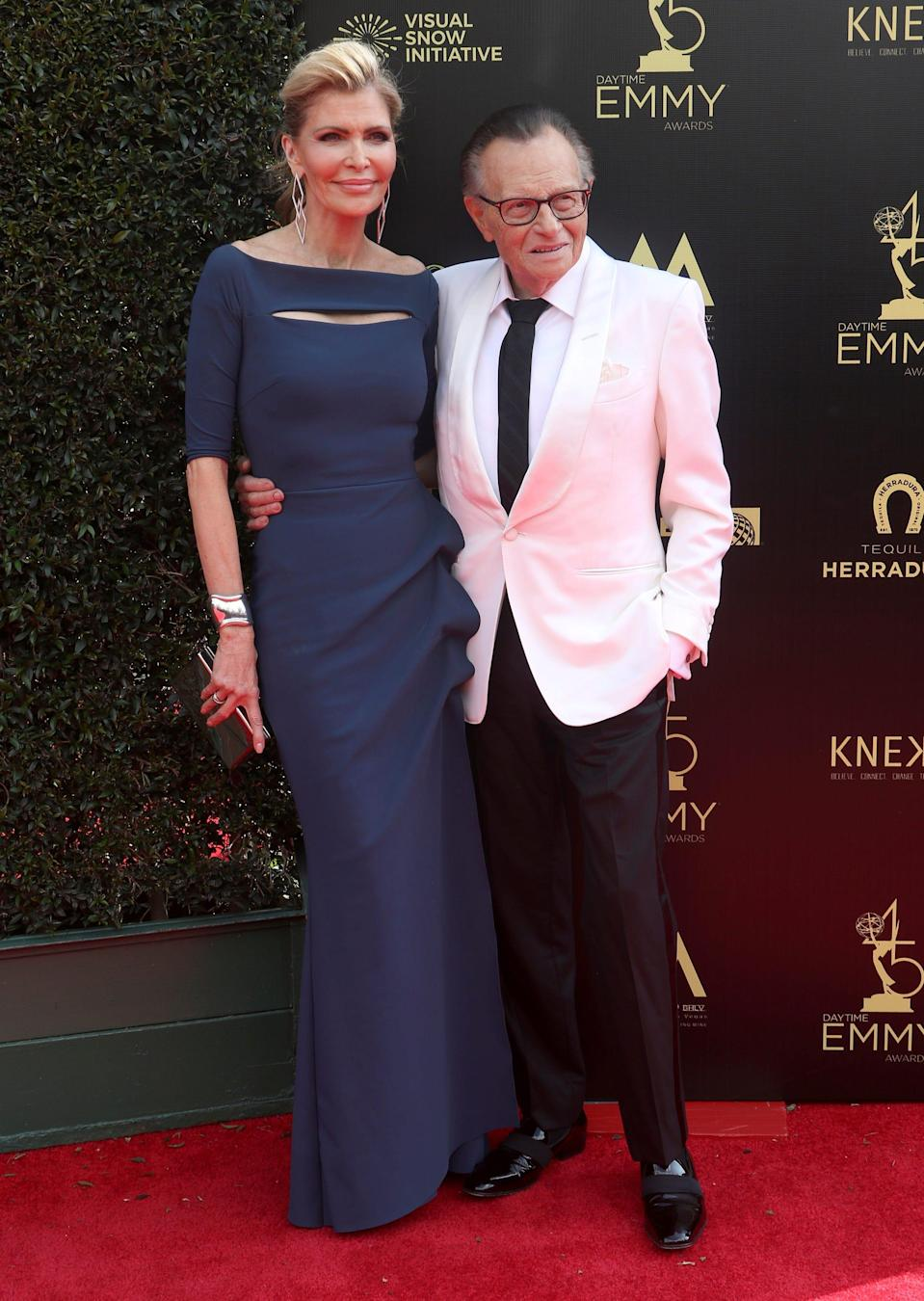 Shawn King and Larry King at the Daytime Emmy Awards in April 2018.