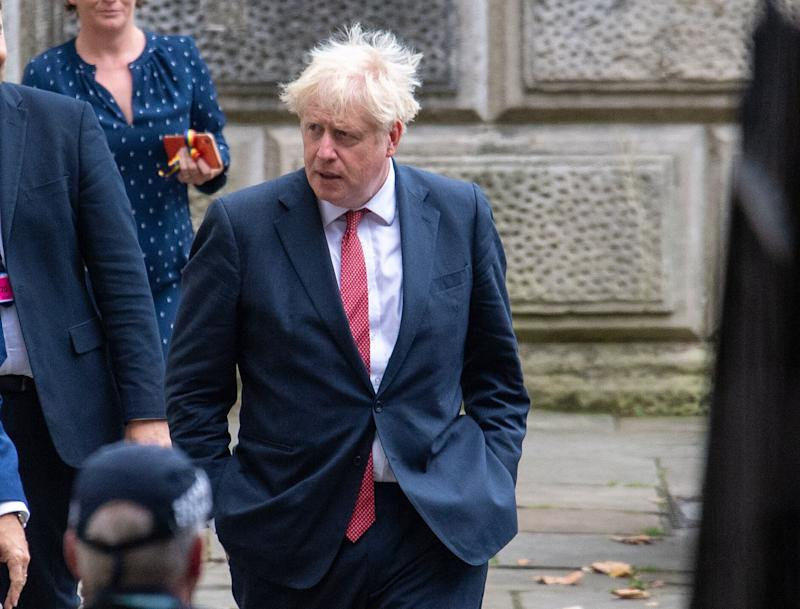 Prime Minister Boris Johnson leaves the Foreign and Commonwealth Office in London following a meeting with White House senior advisor Jared Kushner. (Photo by Dominic Lipinski/PA Images via Getty Images) (Photo: Dominic Lipinski - PA Images via Getty Images)