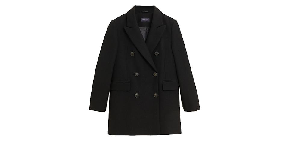 Double Breasted Blazer Coat with Wool