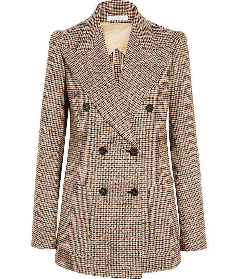 "<p>Chloé Houndstooth Double-Breasted Stretch-Wool Blazer, $4,030, <a href=""http://www.net-a-porter.com/us/en/product/608402/chloe/houndstooth-double-breasted-stretch-wool-blazer"">net-a-porter.com</a></p>"