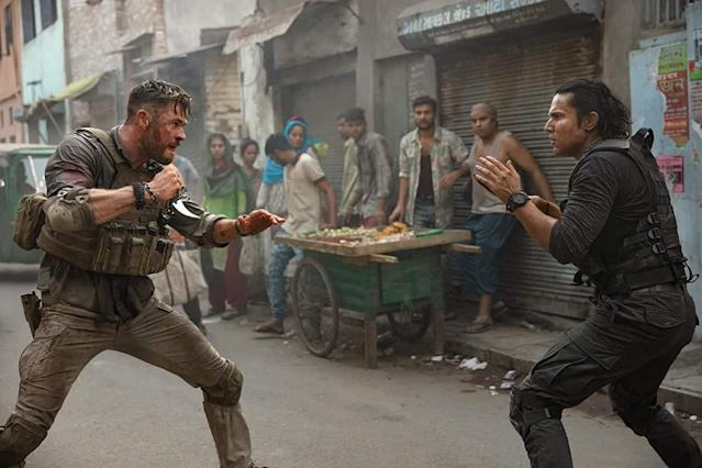 "Chris Hemsworth co-stars with Randeep Hooda for a super action-packed movie. The plot of the movie is meh, but the execution of it is really well done. After watching the movie, trust me, you will be talking about the 'one take' fight sequence that has everyone gushing over. Fun fact: the director of the movie, Sam Hargrave was actually the stunt coordinator for both the <em>Avengers</em> movies. You can watch it on <a href=""https://www.netflix.com/title/80230399"" rel=""nofollow noopener"" target=""_blank"" data-ylk=""slk:Netflix"" class=""link rapid-noclick-resp"">Netflix</a>."