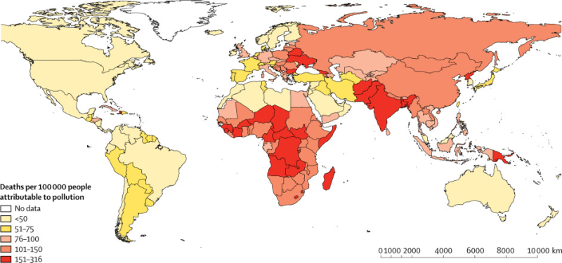 This map of pollution-linked deaths in 2015 per 100,000 people shows its impact on poorer, more vulnerable parts of the world. (The Lancet)