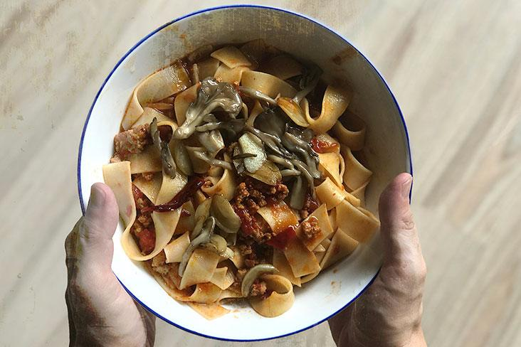 Topped with some sautéed mushrooms and fried shallots, this pasta dish is a meal on its own