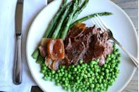 """<p>Your crock pot does the work and you get credit for all the amazing flavor. Many people don't eat peas during Passover, and they can easily be left out of this dish.<br></p><p>Get the recipe from <a href=""""https://www.delish.com/cooking/recipe-ideas/recipes/a46726/slow-cooker-pot-roast-with-peas-and-asparagus-recipe/"""" rel=""""nofollow noopener"""" target=""""_blank"""" data-ylk=""""slk:Delish"""" class=""""link rapid-noclick-resp"""">Delish</a>.</p>"""