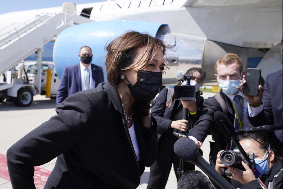 Vice President Kamala Harris speaks to the media on India, prior to boarding Air Force Two, Friday, April 30, 2021, at Cincinnati/Northern Kentucky International Airport, in Hebron, Ky., on return to Washington. (AP Photo/Jacquelyn Martin)